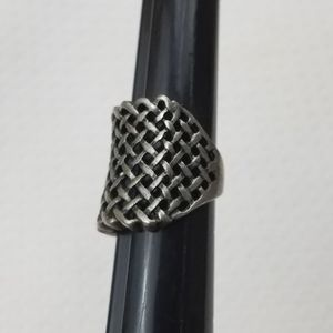 SILVER GRAY Metallic Basket Weave Cut Out Ring